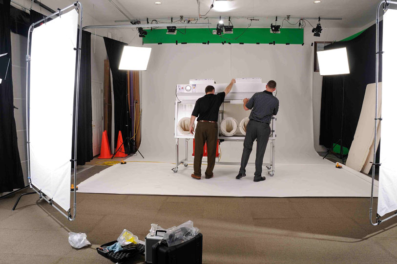 Setting up the studio for video and photography.